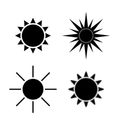 Sun icons set gray isolated vector