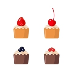 Set of mini cupcakes on white background vector
