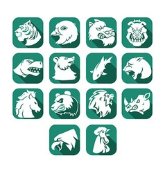 Animal head flat icon button vector