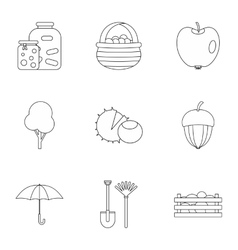 Autumn coming icons set outline style vector