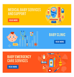 Baby health horizontal banners set vector