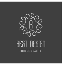 Best design of the minimalism leaves on a dark vector image