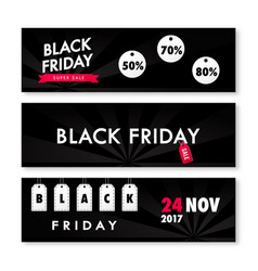 black friday sale horizontal banners set vector image