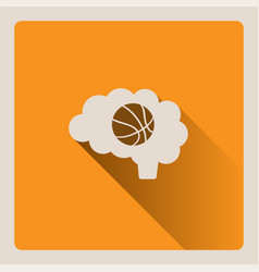 brain thinking in basketball on yellow background vector image