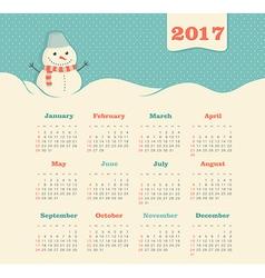 Calendar 2017 with snowman week starts sunday vector