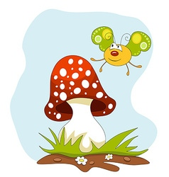 Cartoon butterfly and a mushroom over blue sky vector image