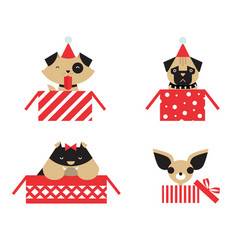 christmas dogs vector image