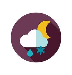 Cloud snow rain moon flat icon weather vector