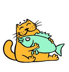 Cute orange cat hugging big fish vector