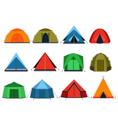 Different tourists tents for camping vector