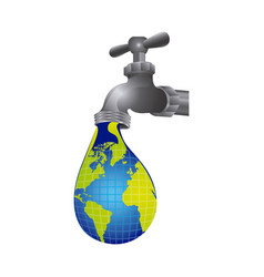 Faucet with water drop of planet icon vector