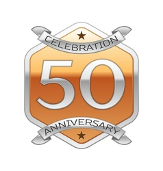 Fifty years anniversary celebration silver logo vector