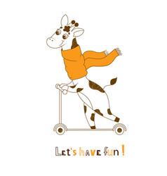 giraffe text for children vector image