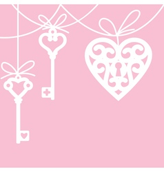 heart and skeleton key vector image vector image
