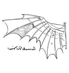 Leonardo da vinci wing sketch vector