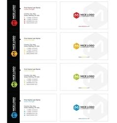 M hexagon business card white vector