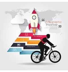 Modern infographics with businessman ride bicycle vector