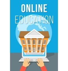 Online Education using Computer Flat Concept vector image