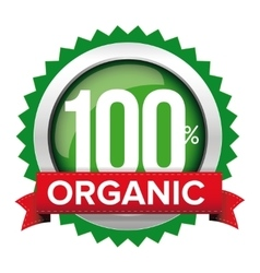 Organic badge with red ribbon vector