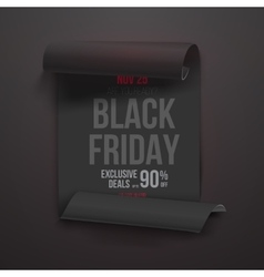Realistic folded paper scroll black friday sale vector