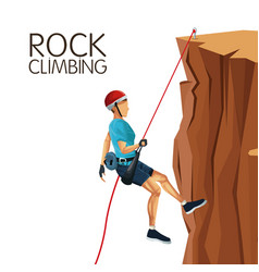 Scene man mountain descent with equipment rock vector
