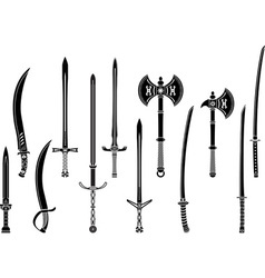 set of stencils of fantasy swords and axes vector image