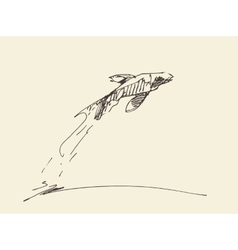 Sketch fish jumping water vector