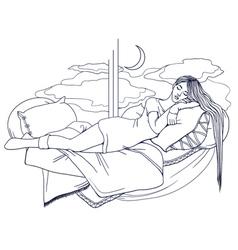 Sleeping girl in gray tones postcard good night vector