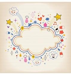star bursts cartoon cloud shape banner frame lined vector image