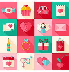 Valentine day flat style icon set with long shadow vector