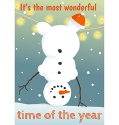 Winter postcard with funny snowman vector