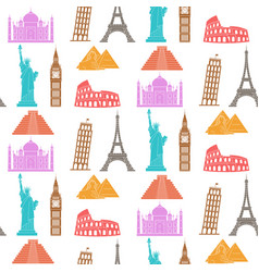 world landmarks seamless background vector image vector image