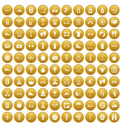 100 active life icons set gold vector