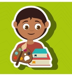 Child with a palette of paints and books isolated vector