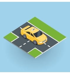 Isometric yellow taxi cab vector