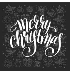 Merry christmas calligraphic hand lettering on vector
