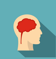 Man head silhouette with brain inside icon vector