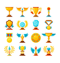 Color trophy and awards icons set on white vector
