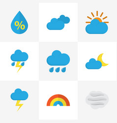 Nature flat icons set collection of drop bow vector
