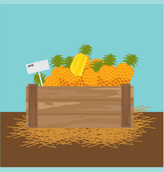 Pineapple in a wooden crate vector