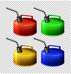 Portable gasoline tank in four colors vector