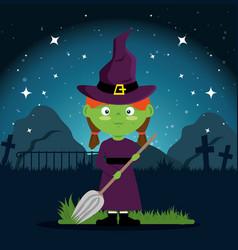 cute witch halloween cartoon vector image