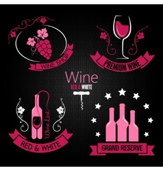 Wine glass bottle label set vector