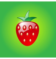Strawberry on green background vector
