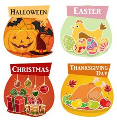 Thanksgiving day easter halloween vector
