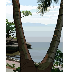 Palm tree on the sea shore vector