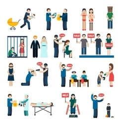 Human trafficking flat icons set vector