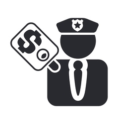 Cop corruption icon vector