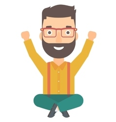 Man sitting with crossed legs and raised hands up vector