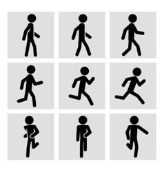 Walking and running people icons vector